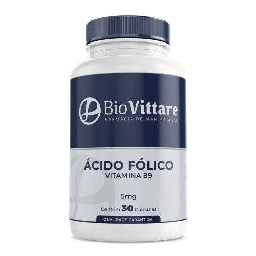 Ácido Fólico (Vitamina  B9) 5mg 30 Cápsulas