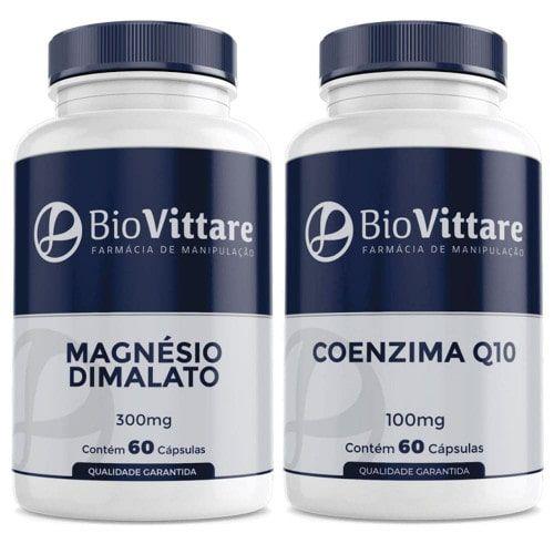Combo Magnésio Dimalato 300mg + Coenzima Q10 100mg 60 Cápsulas